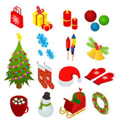 christmas celebration set icons 3d isometric view vector image vector image