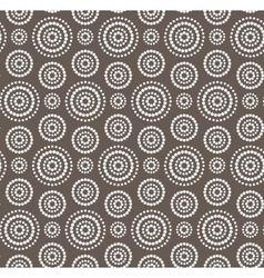Dots circles white seamless pattern on dark brown vector image