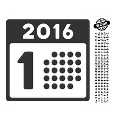 First 2016 day icon with job bonus vector