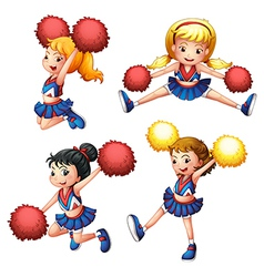 Four cheerdancers with their pompoms vector
