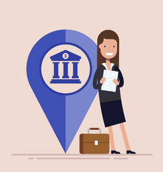 Happy businesswoman or manager with map pointer vector