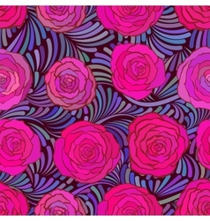Seamless pattern with beautiful pink roses vector image