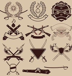 set of weapon club emblems vector image vector image