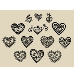 beautiful silhouette of the heart of lace flowers vector image vector image