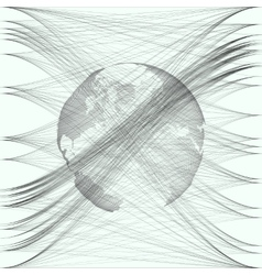 Black color dotted world globe with abstract waves vector image