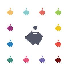moneybox piggy flat icons set vector image vector image
