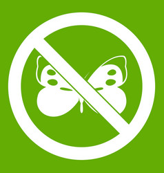 no butterfly sign icon green vector image vector image