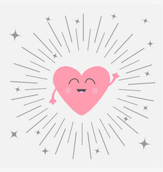 pink heart face head with hands cute cartoon vector image vector image
