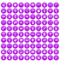 100 preschool education icons set purple vector