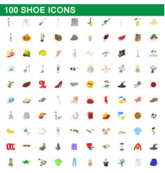 100 shoe icons set cartoon style vector