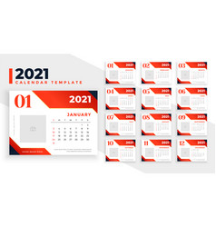 Abstract 2021 calendar template in red color theme vector