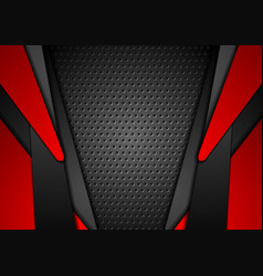 Abstract red and black contrast tech background vector