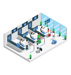 Airport terminal isometric composition vector
