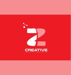 alphabet letter z red technology white logo vector image
