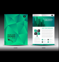 Annual report brochure flyer template green cover vector