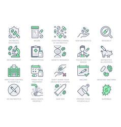 Antibiotic resistance line icons vector