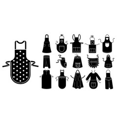 Apron icons set simple style vector