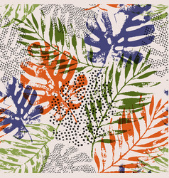 Art rough grunge tropical palm monstera leaf vector