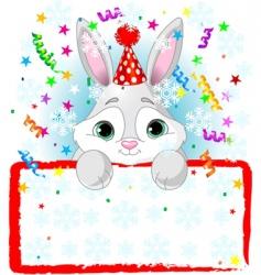 Baby bunny new year frame vector