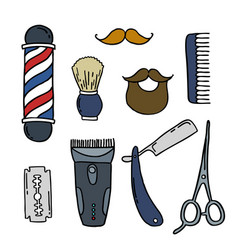 barbershop doodle icons vector image
