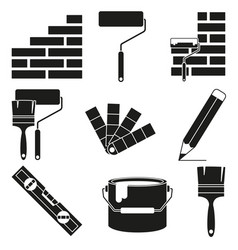 Black and white wall recoloring silhouette vector