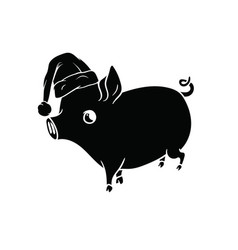 Black pig with a hat on his head walking vector