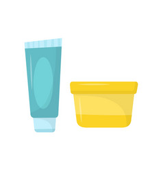 blue tube of toothpaste and small yellow jar of vector image