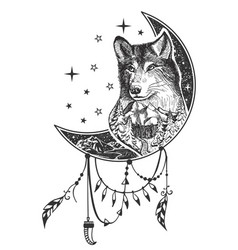 Boho wolf tattoo or t-shirt print design vector