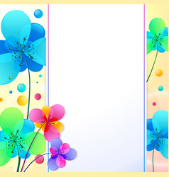 Bright flowers background greeting card vector