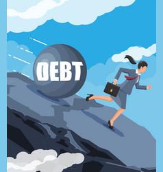 Businesswoman running away from big debt weight vector