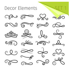 Calligraphy scroll elements decorative retro vector