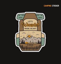 camping adventure sticker design travel hand vector image