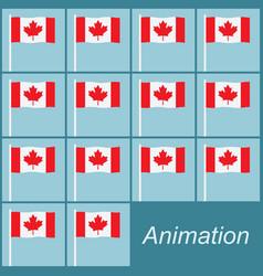 Canadian flag waving on a pole on blue animation vector