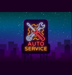 Car service repair logo neon sign emblem vector