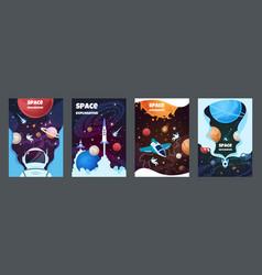 Cartoon space banners galaxy universe science vector