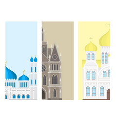 cathedral cards church temple traditional building vector image