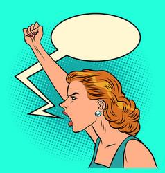 caucasian woman protest vector image