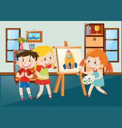 Children drawing on canvas in classroom vector
