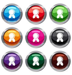 Circle badge wih ribbons set 9 collection vector