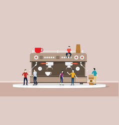 Coffee machine with people and cup of warm coffee vector