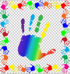 Colored handprints border and big rainbow palm in vector