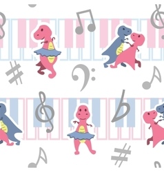 Dancing dino seamless pattern with music keyboards vector image