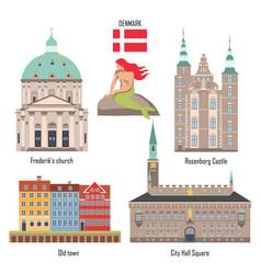 Denmark set landmark icons vector