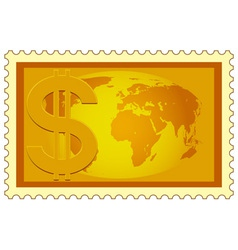 Dollar and Globe on stamp vector