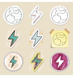 Ecology emblems set Hand drawn and isolated vector image