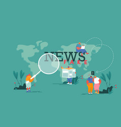 Fake news gossips concept people reading vector