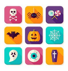 Flat Halloween Trick or Treat Square App Icons Set vector