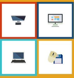 Flat icon laptop set of pc computer mouse vector