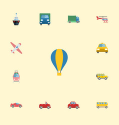 flat icons jeep airship aircraft and other vector image