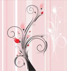 Floral background pink vector